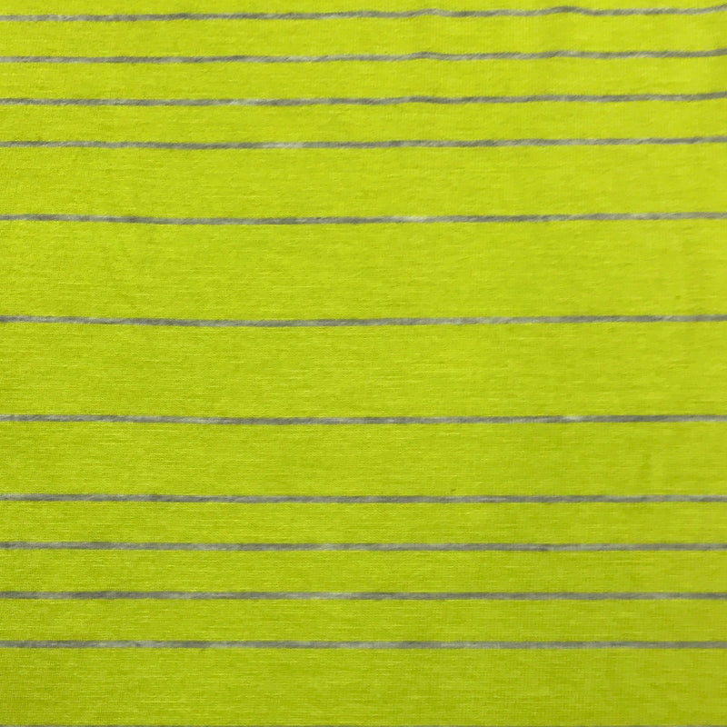 Lime and Gray Stripes on Bamboo/Spandex Jersey