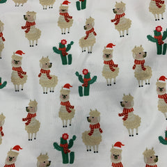 Christmas Llamas on 1 mil PUL- Made in China