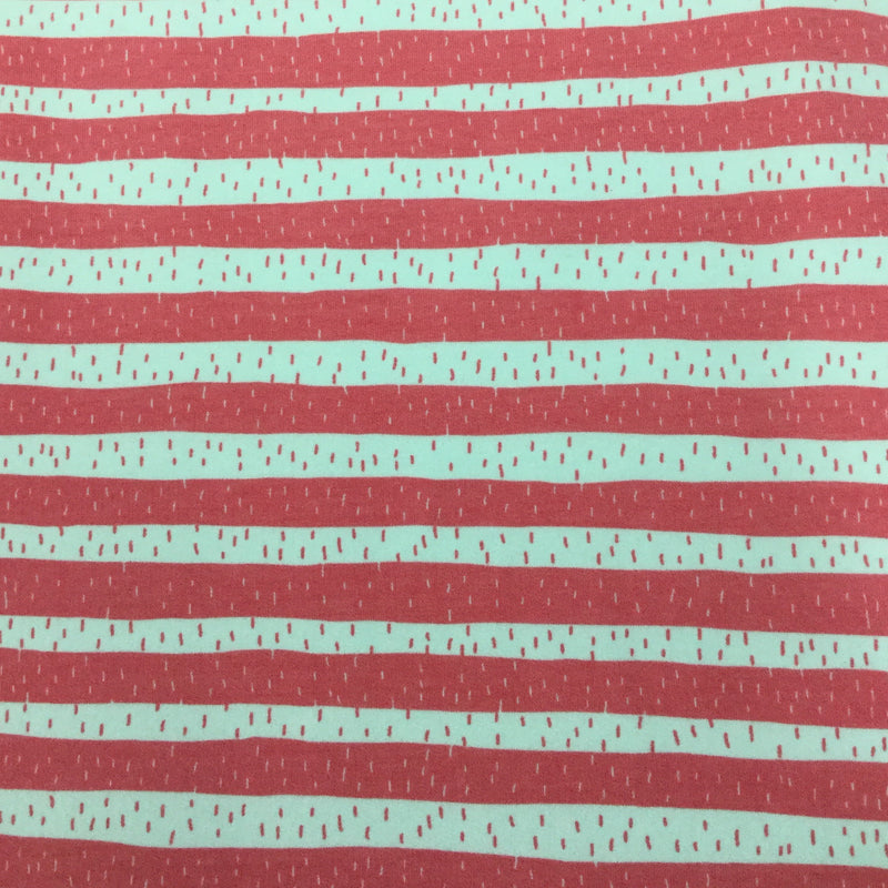Coral Kitty Stripe on Organic Cotton/Spandex French Terry