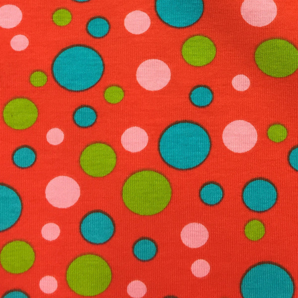 Multicolor Dots on Red Cotton/Spandex Jersey