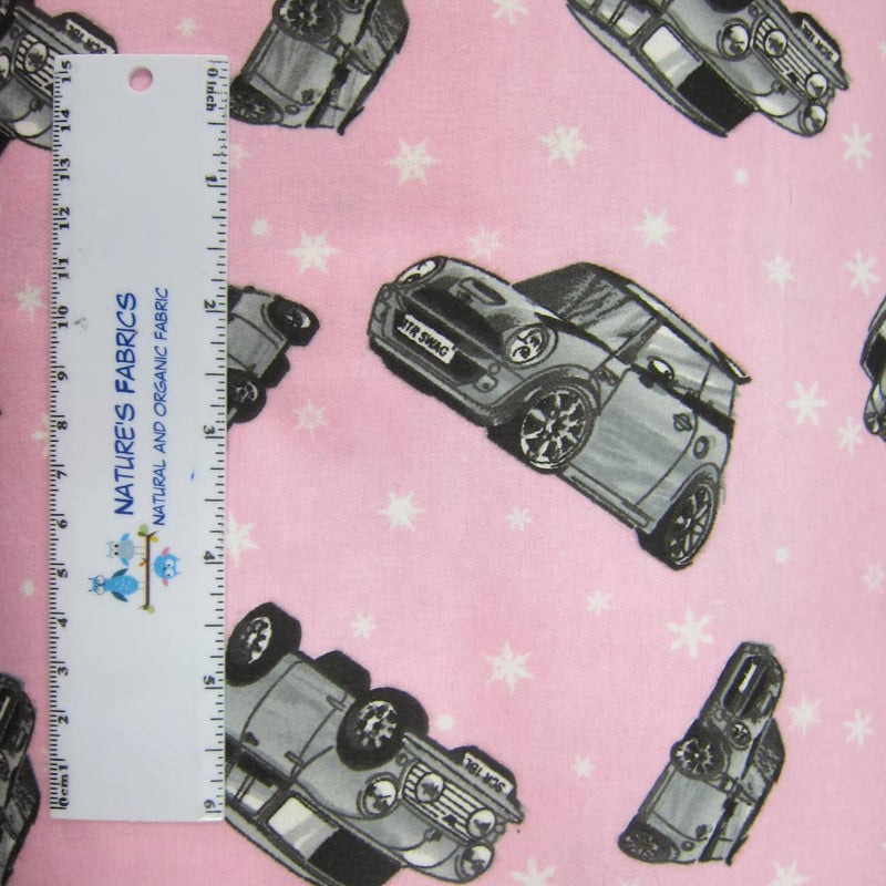 Mini Coopers on Pink Cotton Flannel
