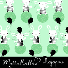 Shy Bunny on Mint Organic Cotton/Spandex Jersey
