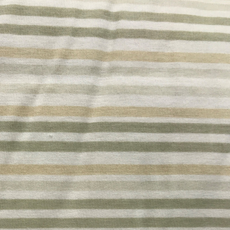 Natural and Double Green Stripes on Organic Cotton Jersey