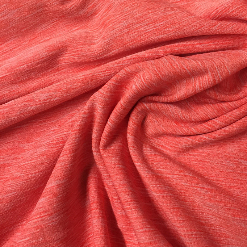 Orange Heather Space Dye on Poly/Spandex Jersey