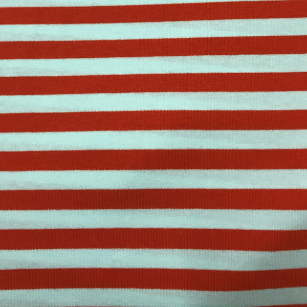"Orange and White 3/8"" Stripes on Cotton/Spandex Jersey"