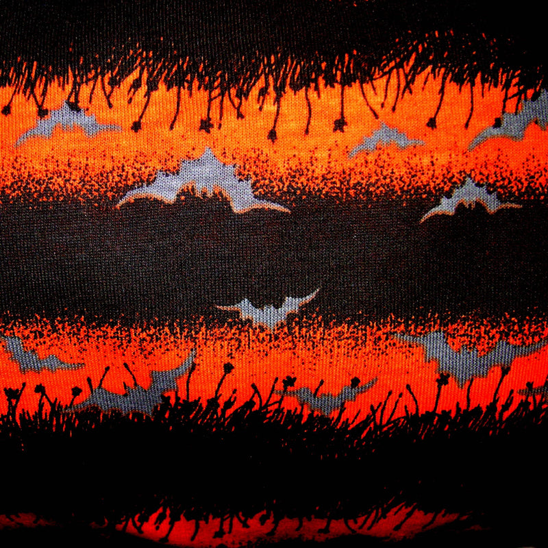 Bats on Orange and Black Stripe Cotton Jersey