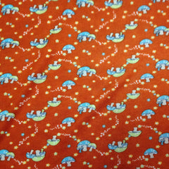 Mushrooms on Red Cotton/Poly Jersey