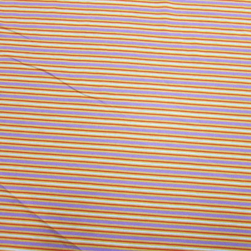 Red, Purple and Orange Stripes on Cotton Jersey