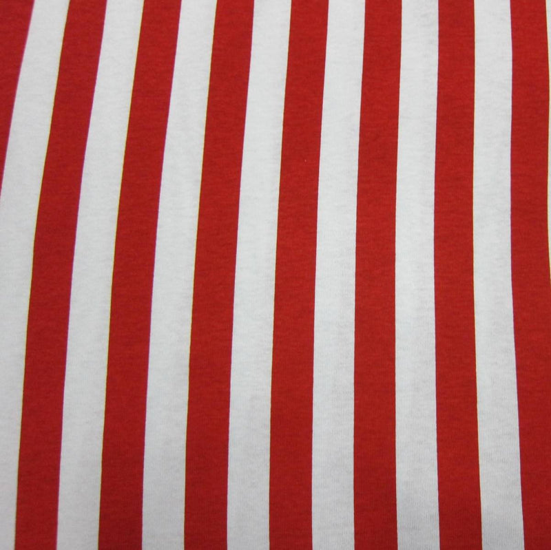 Red and White Stripes on Cotton Jersey