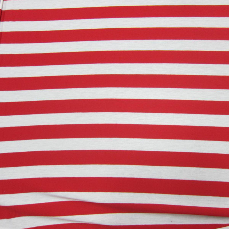 "Red and White 1"" Stripes on Cotton Jersey"