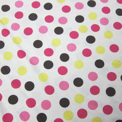 Pink, Yellow and Brown Dots On Natural Cotton Jersey