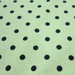 Black Dots On Green Cotton Jersey