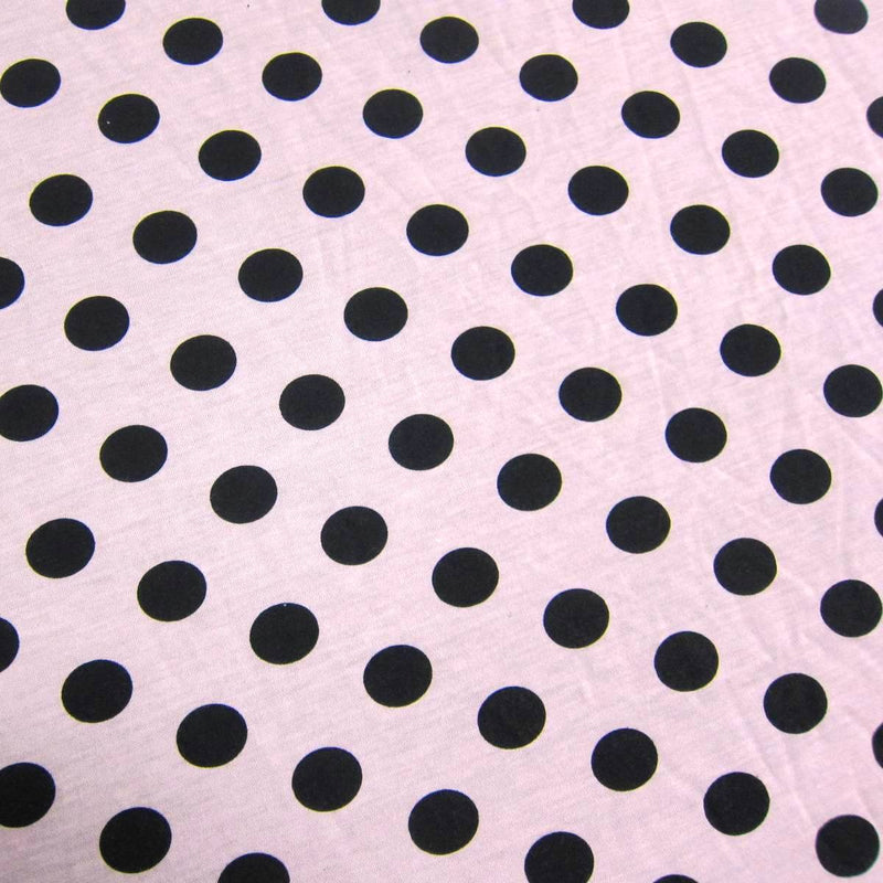 Black Dots On Salmon Cotton/Poly Jersey