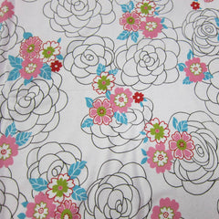 Designer Roses on White Cotton Rib