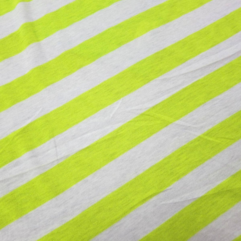 "Neon and Light Yellow 1 1/4"" Stripes on Cotton/Poly Jersey"