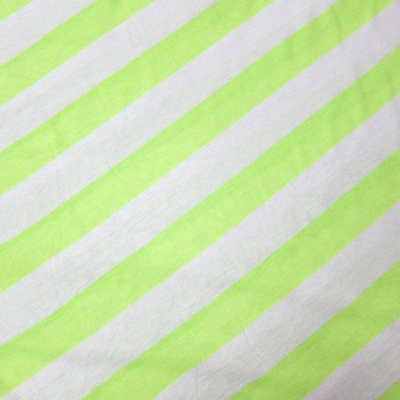 "Neon Lime and White 1 1/4"" Stripes on Cotton Jersey"