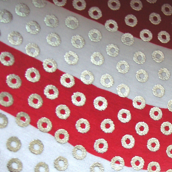 Silver Dots on Red and White Striped Cotton/Spandex Jersey