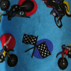 Motorcycles on Blue Cotton Interlock