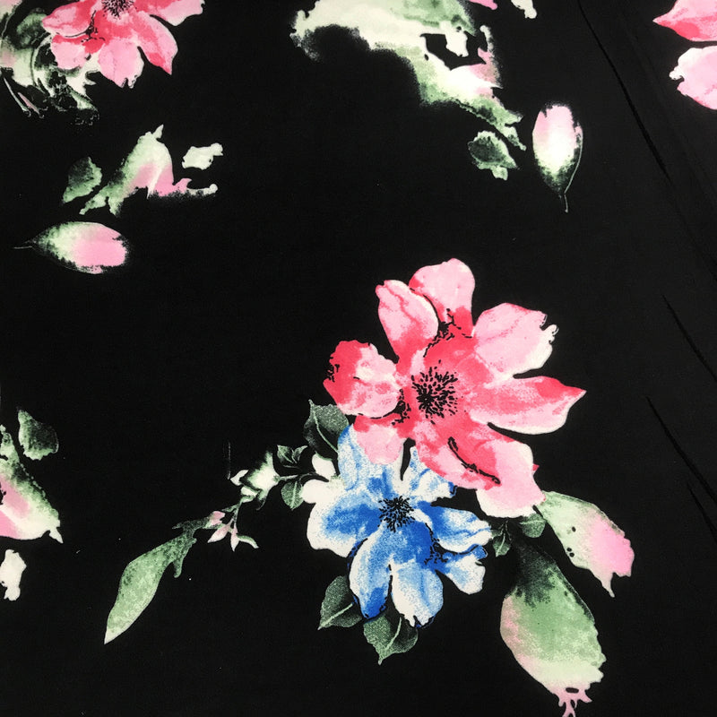 Pink and Blue Flowers on Black Double Brushed Polyester/Spandex Jersey