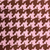 Pink and Brown Houndstooth Corduroy - 20 Wale