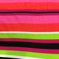Pink, Green, White and Black Stripes on Cotton/Spandex Jersey