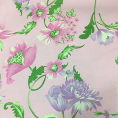 Pink and Purple Flowers on PInk Corduroy - 21 Wale