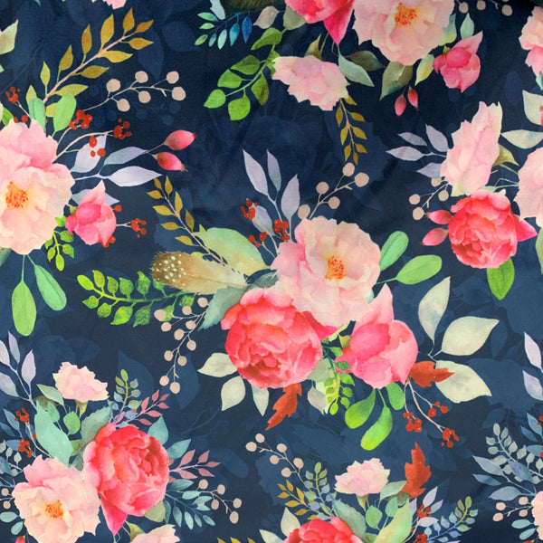 Pink Roses on Navy Bamboo/Spandex Jersey