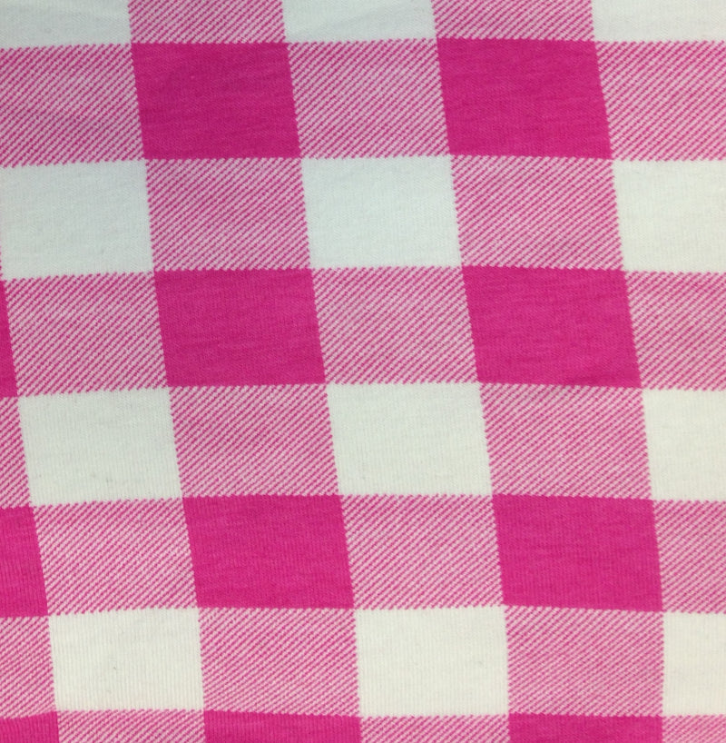 Pink and White Squares on Cotton/Spandex Jersey