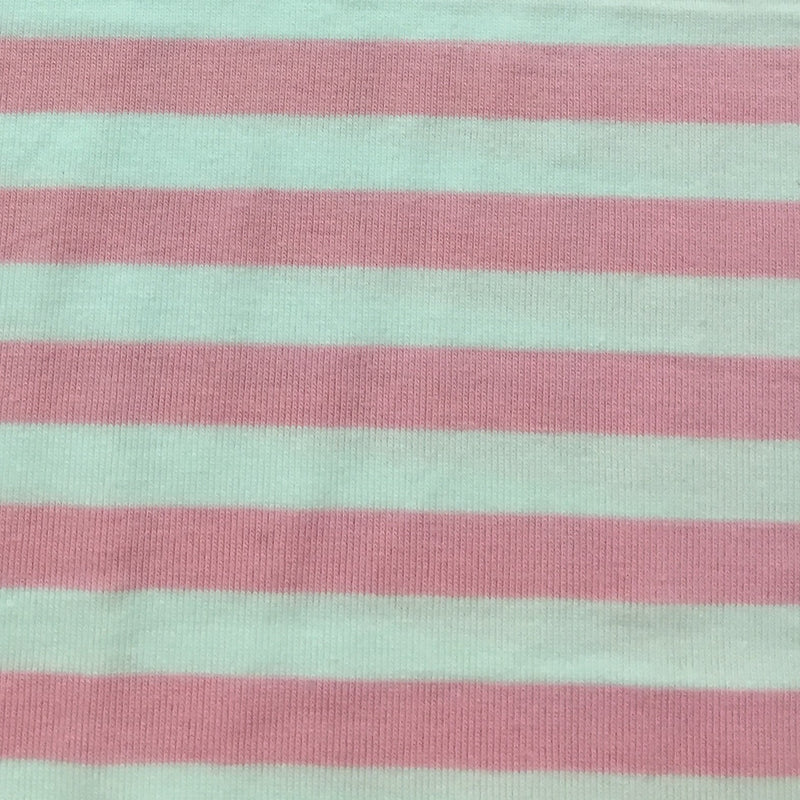 "Pink and White 3/8"" Stripes on Cotton/Spandex Jersey"