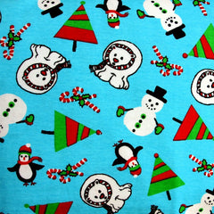 Polar Bears on Blue Cotton Interlock