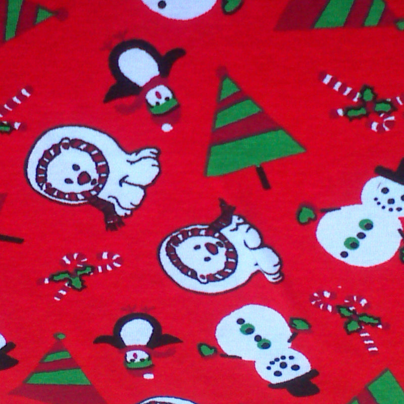 Polar Bears on Red Cotton Rib
