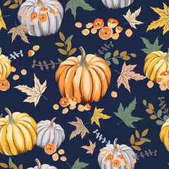 Pumpkins and Leaves on 1 mil PUL- Made in China