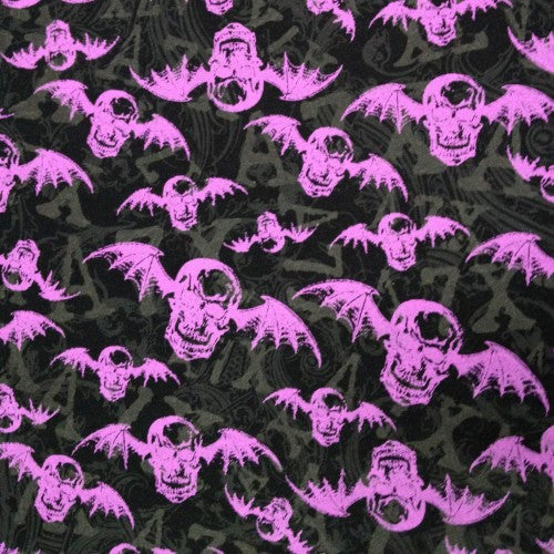 Purple Skull Bats on Black Cotton French Terry