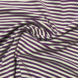 "Purple and White 1/8"" Stripes on Cotton/Spandex Jersey"