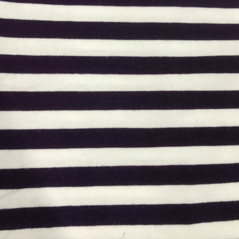 "Purple and White 3/8"" Stripes on Cotton/Spandex Jersey"