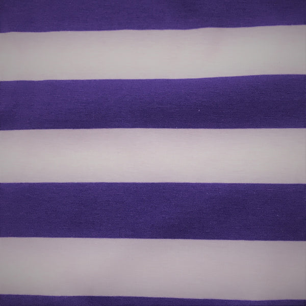 "Purple and Lilac 1 1/2"" Stripes on Cotton/Spandex Jersey"