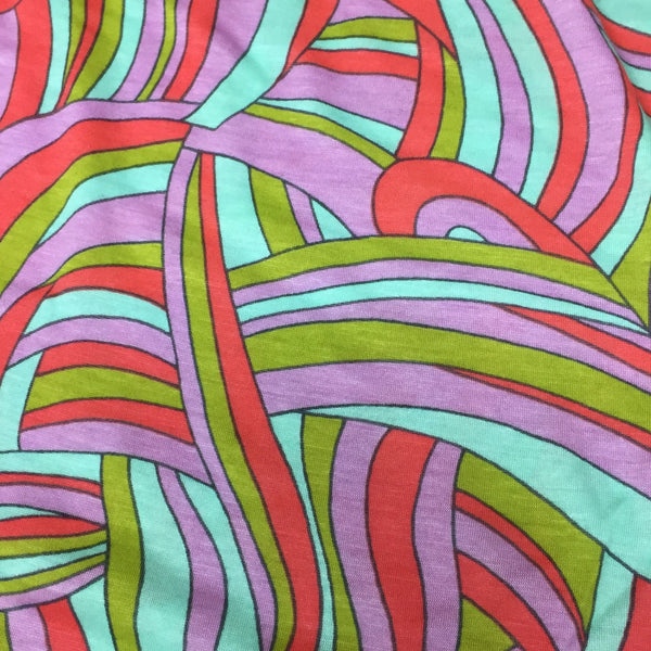 "Rainbow Road Swirls on Cotton/Poly Jersey - 64"" wide"
