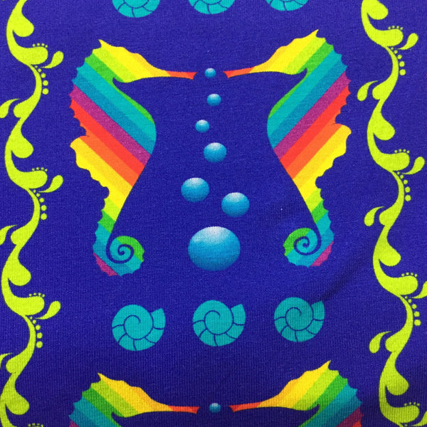 Rainbow Seahorses on Organic Cotton/Spandex Jersey