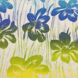 Rainbow Tropical Flowers on White Cotton Jersey