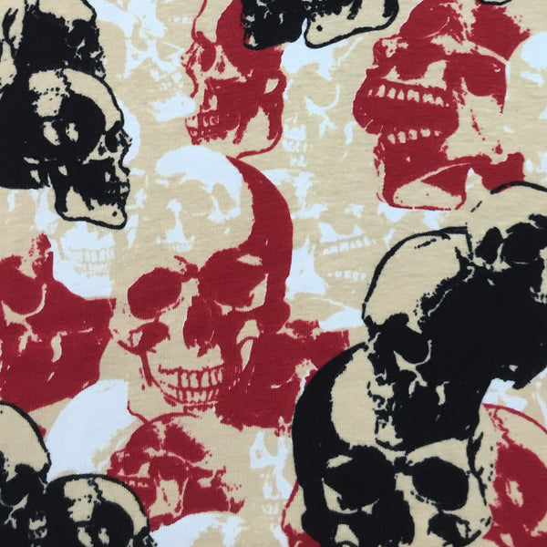 Red and Black Skull Camouflage on Cotton/Spandex Jersey