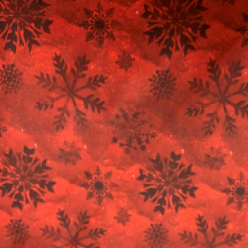 Red Snowflakes on Red 1 mil PUL- Made in China