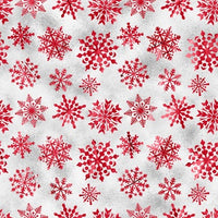 Red Snowflakes on Gray 1 mil PUL - Made in the USA