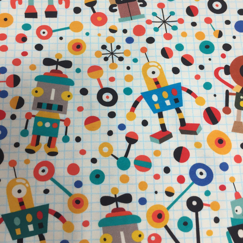 Robots on Organic Cotton/Spandex Jersey