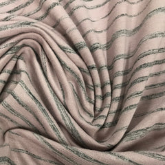 Rose and Charcoal Stripes on Bamboo/Spandex Jersey