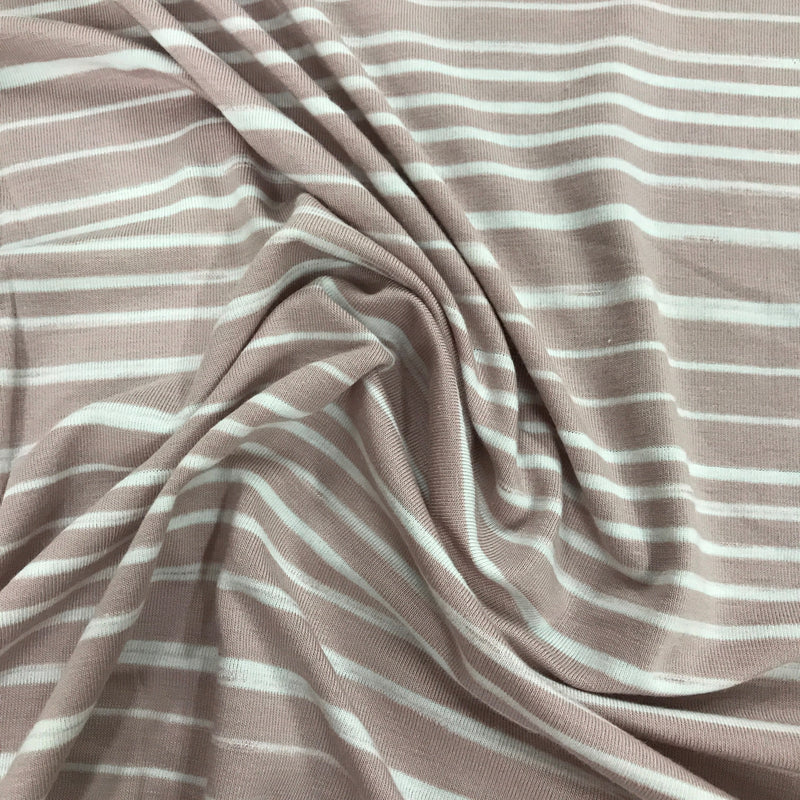 Rose and White Stripes on Bamboo/Spandex Jersey