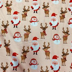 Santa and Reindeer on Peach 1 mil PUL- Made in China