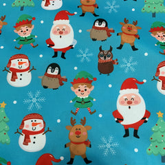 Santa and Reindeer on Blue 1 mil PUL- Made in China