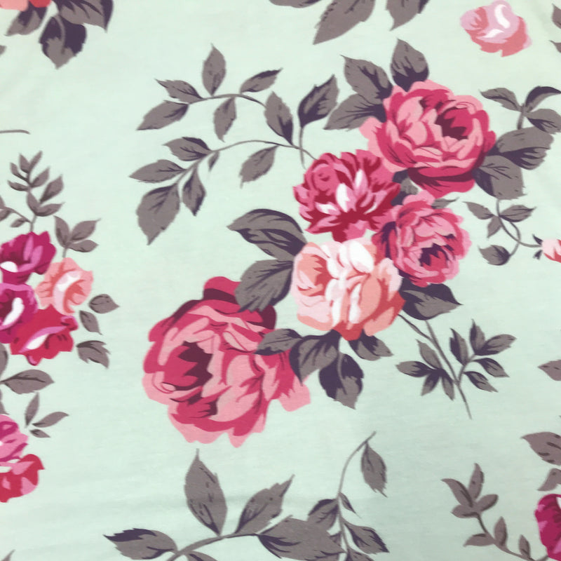 Shabby Roses on Mint Bamboo/Spandex Jersey