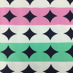Pink and Green Dot Stripes on Organic Cotton/Spandex Jersey