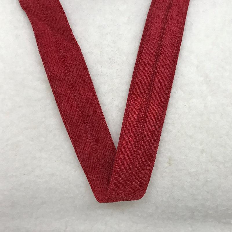 "5/8"" Shiny Fold Over Elastic-Crimson Red"